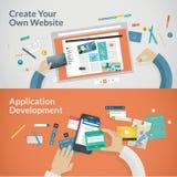 Reeks vlakke ontwerpconcepten voor websites en toepassingenontwikkeling Stock Foto