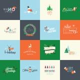 Reeks vlakke ontwerpelementen voor Kerstmis en Nieuwjaargroetkaarten Stock Foto's