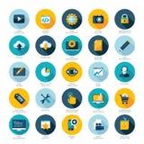 Reeks vlakke ontwerppictogrammen voor de ontwikkeling van het Webontwerp, SEO en Internet-marketing