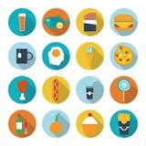 Reeks vlakke ontwerppictogrammen voor voedsel en drank Royalty-vrije Stock Foto's