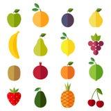 Reeks vlakke ontwerppictogrammen voor vruchten Stock Afbeeldingen