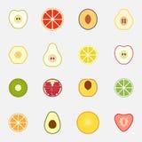 Reeks vlakke ontwerppictogrammen voor vruchten Stock Afbeelding