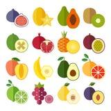 Reeks vlakke ontwerppictogrammen voor vruchten Stock Foto's