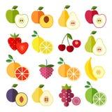 Reeks vlakke ontwerppictogrammen voor vruchten Royalty-vrije Stock Afbeelding