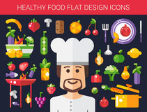 Reeks vlakke ontwerpvruchten en groentenpictogrammen Stock Afbeelding
