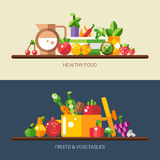 Reeks vlakke ontwerpvruchten en groentenpictogrammen Royalty-vrije Stock Afbeeldingen
