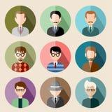 Reeks vlakke pictogrammen met de mens Stock Fotografie