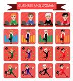 Reeks vlakke pictogrammen met het beeld van een bedrijfsvrouw stock illustratie
