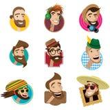Reeks vlakke pictogrammen met mensenhoofden Royalty-vrije Stock Foto's