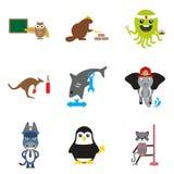 Reeks vlakke pictogrammen op witte dieren als achtergrond royalty-vrije illustratie