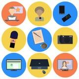 Reeks vlakke pictogrammen over media, nieuwspictogrammen Royalty-vrije Stock Afbeeldingen