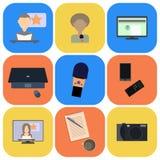 Reeks vlakke pictogrammen over media, nieuwspictogrammen Royalty-vrije Stock Afbeelding