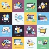 Reeks vlakke pictogrammen van de ontwerpstijl voor website en app ontwikkeling, elektronische handel Stock Afbeelding