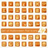 Reeks vlakke pictogrammen van Halloween vector illustratie