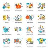 Reeks vlakke pictogrammen van het lijnontwerp van Internet-marketing en online zaken