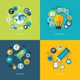 Reeks vlakke pictogrammen van het ontwerpconcept voor onderwijs Stock Afbeeldingen