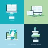 Reeks vlakke pictogrammen van het ontwerpconcept voor online boek Royalty-vrije Stock Fotografie