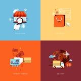 Reeks vlakke pictogrammen van het ontwerpconcept voor online shoppi Stock Foto's