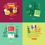 Reeks vlakke pictogrammen van het ontwerpconcept voor vreemde talen Royalty-vrije Stock Foto's