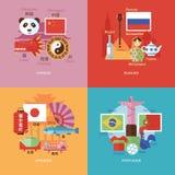 Reeks vlakke pictogrammen van het ontwerpconcept voor vreemde talen Pictogrammen voor Chinees, Rus, Japanner en het Portugees Stock Foto's