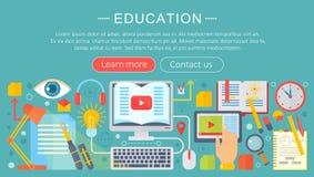 Reeks vlakke pictogrammen van het ontwerpconcept voor Web en de mobiele diensten en apps Pictogrammen voor onderwijs, online onde stock illustratie