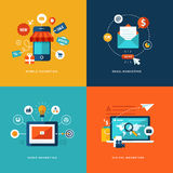 Reeks vlakke pictogrammen van het ontwerpconcept voor Web en de mobiele telefoondiensten en apps