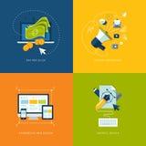 Reeks vlakke pictogrammen van het ontwerpconcept voor Web en mobil