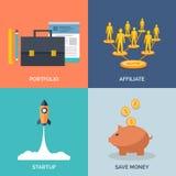 Reeks vlakke pictogrammen van het ontwerpconcept voor zaken Royalty-vrije Stock Afbeelding