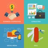 Reeks vlakke pictogrammen van het ontwerpconcept voor zaken Stock Afbeelding