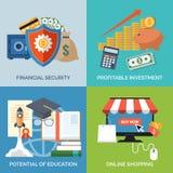 Reeks vlakke pictogrammen van het ontwerpconcept voor zaken Stock Foto's