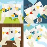 Reeks vlakke pictogrammen van het ontwerpconcept voor zaken Stock Afbeeldingen