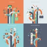 Reeks vlakke pictogrammen van het ontwerpconcept voor zaken en marketing Stock Foto's