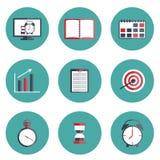 Reeks vlakke pictogrammen van het tijdbeheer Royalty-vrije Stock Afbeeldingen