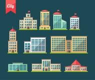 Reeks vlakke pictogrammen van ontwerpgebouwen vector illustratie