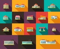 Reeks vlakke pictogrammen van ontwerpgebouwen Stock Afbeelding