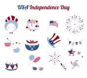 Reeks vlakke pictogrammen voor de Onafhankelijkheidsdag van de V.S. Stock Foto