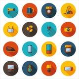 Reeks vlakke pictogrammen voor huishoudapparaten Stock Foto's