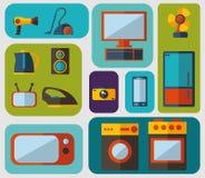 Reeks vlakke pictogrammen voor huishoudapparaten Stock Fotografie