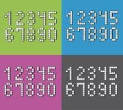 Reeks vlakke pixelaantallen op vier verschillende kleurenachtergronden Stock Foto