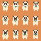 Reeks vlakke pug hondpictogrammen royalty-vrije illustratie