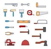 Reeks vlakke reparatie hand-gedreven hulpmiddelen stock illustratie