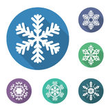 Reeks vlakke sneeuwvlokkenpictogrammen, vectorillustratie Royalty-vrije Stock Foto's