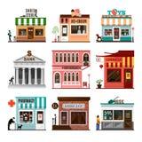 Reeks vlakke vector de winkelbouw voorgevelspictogrammen Royalty-vrije Stock Foto's