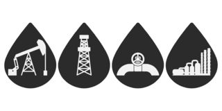 Reeks vlakke vector kustpictogrammen voor olie en gas de industrie; grafische grijze aardolietekens in dalingen van olie: de pomp stock afbeelding