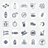 Reeks vlakke vectorpictogrammen met uiteinden voor het verliezen van gewicht Sport, dieet en gezonde levensstijl Gymnastiek, trai stock illustratie