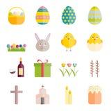 Reeks vlakke vectorpictogrammen van Pasen voor Web, druk, mobiel appsontwerp Stock Foto's
