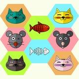 Reeks Vlakke verschillende Emotionele gezichten van katten en muizen De vlakke vissen van het pictogrammenskelet en magische viss Stock Foto