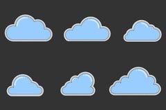 Reeks Vlakke Wolkenflarden vector illustratie