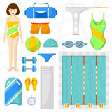 Reeks vlakke zwemmende pictogrammen Stock Afbeeldingen