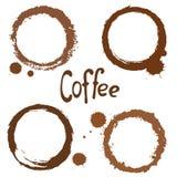 Reeks Vlekken van de Koffie Stock Fotografie